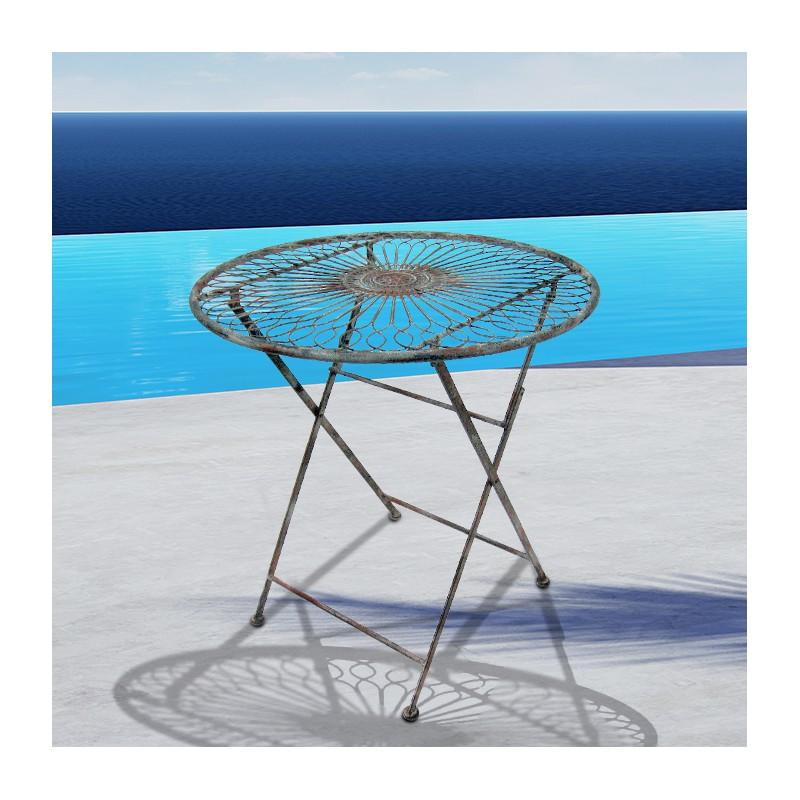Table pliante en fer forg collection r camier for Table exterieur en fer