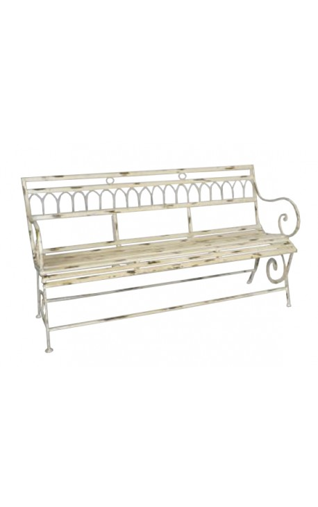 Banc en fer forg collection pompadour beige for Banc de jardin en fer forge