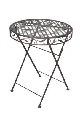"""Table pliante en fer forgé. Collection """"Olivier brun"""""""