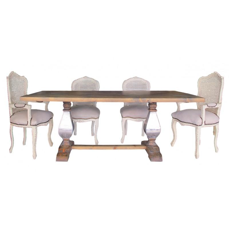 grande table de ferme en bois naturel avec pi tement balustre en inox. Black Bedroom Furniture Sets. Home Design Ideas