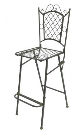 """Chaise de bar en fer forgé. Collection """"Vert-De-Gris"""""""