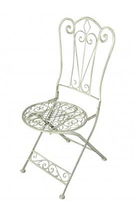 Chaise pliante vert pâle en fer forgé