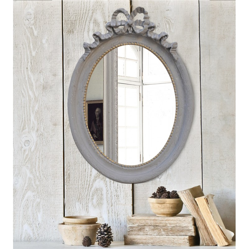 Miroir ovale vertical de style louis xvi gris patin for Miroir vertical