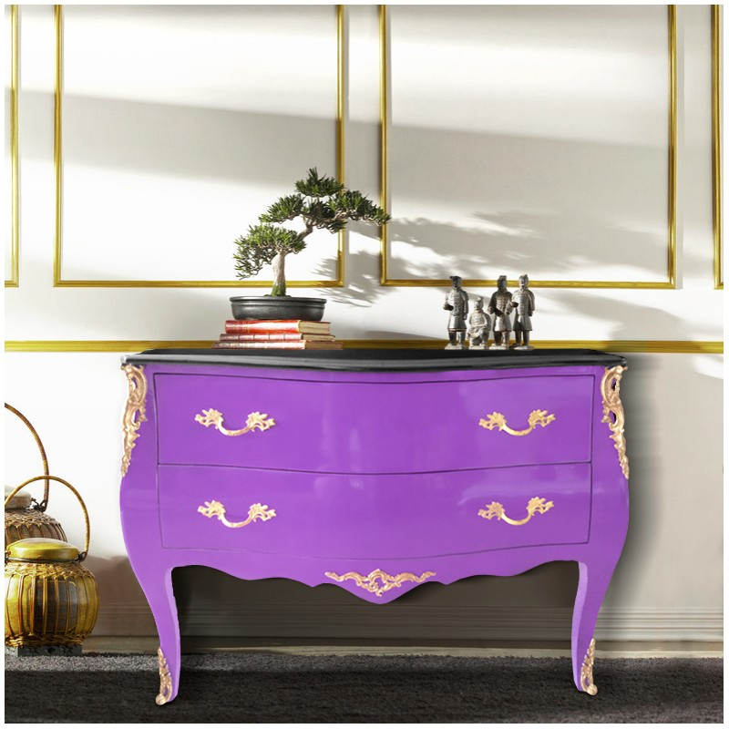 commode baroque de style louis xv mauve et plateau noir bronzes dor s. Black Bedroom Furniture Sets. Home Design Ideas