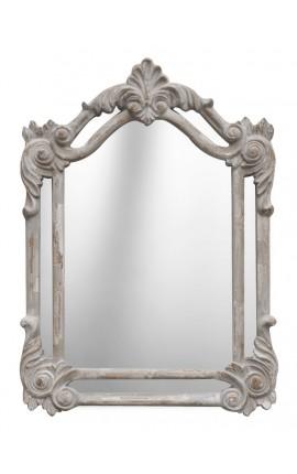 Miroir rectangulaire à parcloses gris patiné