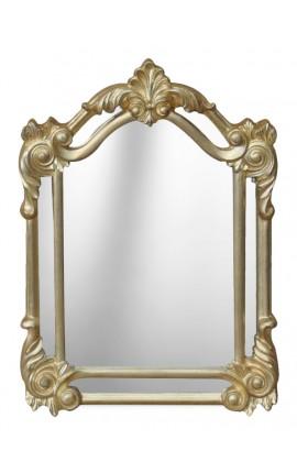 Miroir rectangulaire à parcloses doré patiné