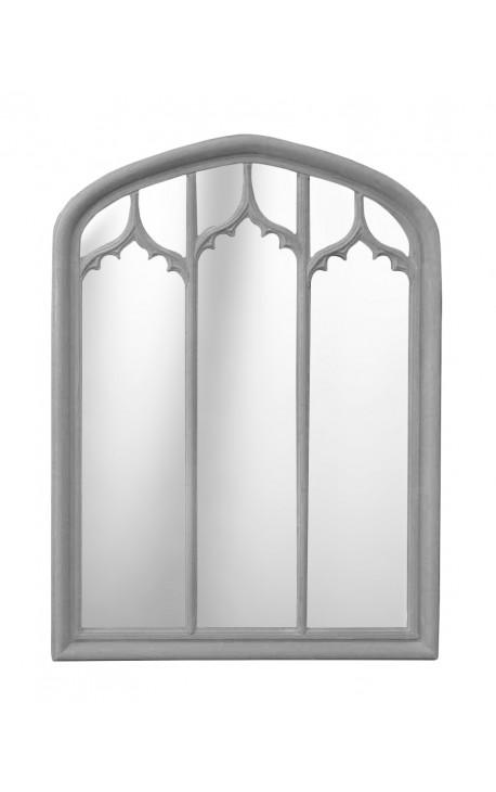 Grand miroir à pareclose gris patiné de style Gothique