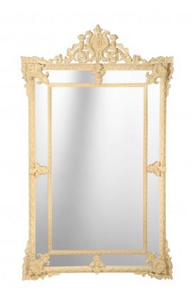 Grand miroir à parcloses couleur ivoire patiné