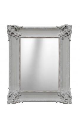 Miroir rectangulaire de style Régence gris patiné