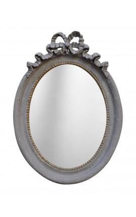 Miroir ovale vertical de style Louis XVI gris patiné