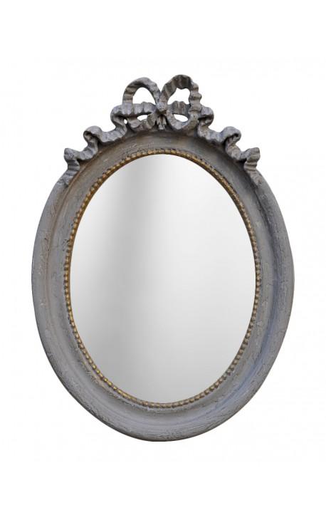 Miroir ovale vertical de style louis xvi gris patin for Miroir vertical
