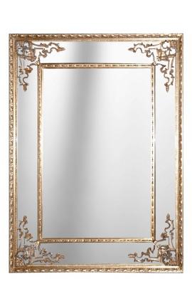 Paravent deux pans avec miroirs en bois patin blanc et for Miroir 3 pans
