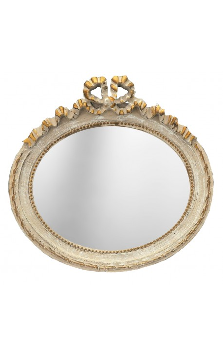 Horizontal oval mirror Louis XVI patinated grey and gold
