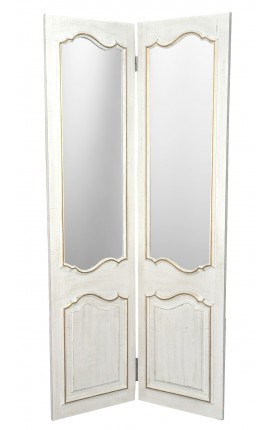 Screen with two-sided mirrors, patinated white and gilded