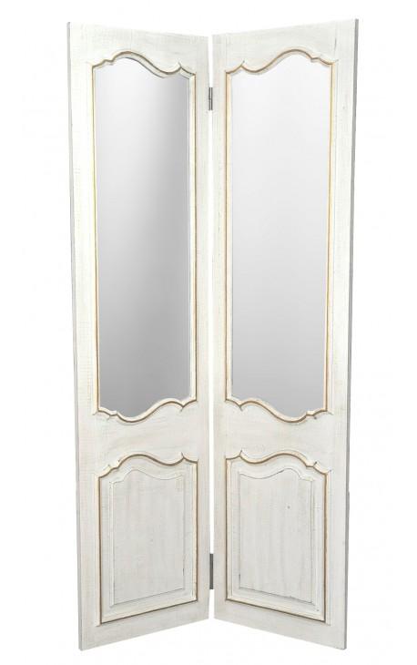 Paravent à deux pans avec miroirs, en bois patiné blanc et doré