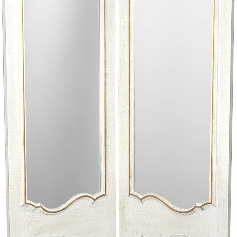 Paravent deux pans avec miroirs en bois patin blanc et for Miroir bois flotte blanc