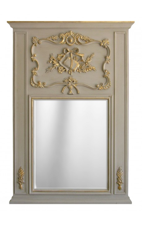 Pierglass Louis XVI gilded wood and weathered gray