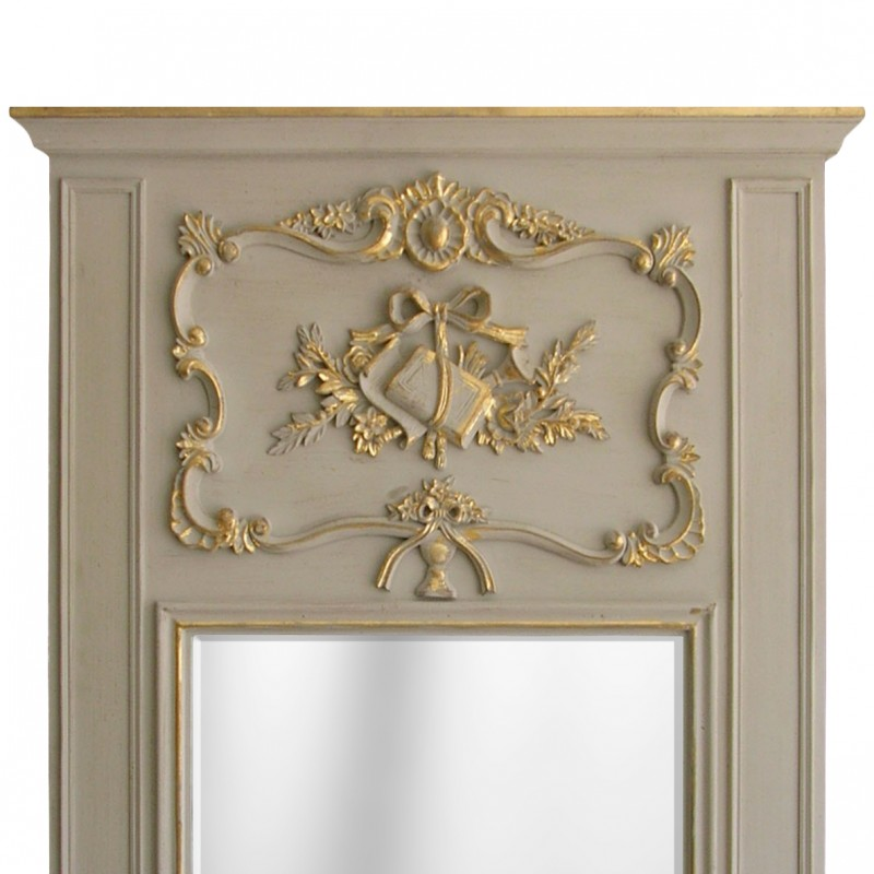 Pierglass louis xvi gilded wood and weathered gray for Miroir louis 16