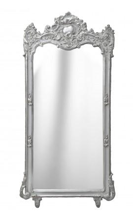 Grand miroir baroque rectangulaire argenté