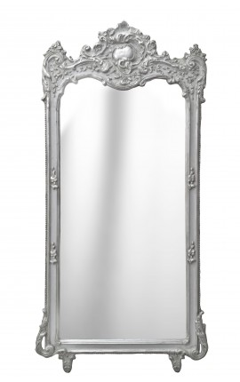 Grand Baroque silvered rectangular mirror