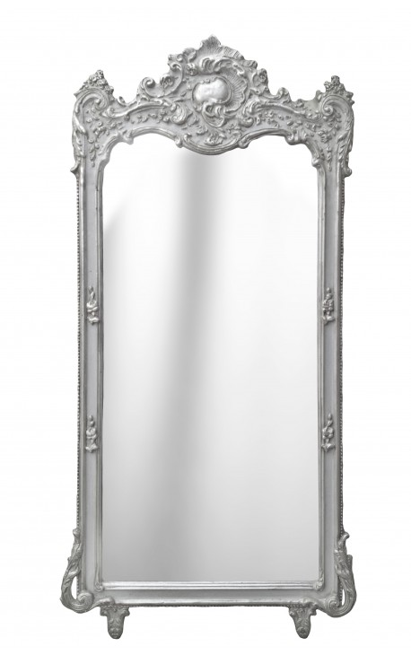 Grand miroir baroque rectangulaire argent for Grand miroir large