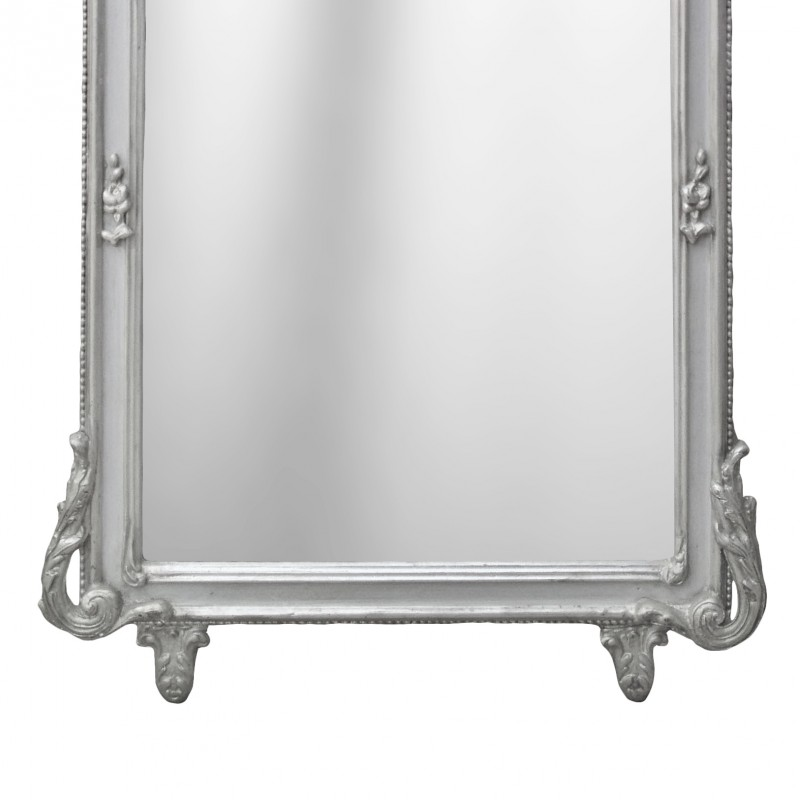 Grand miroir baroque rectangulaire argent for Miroir rectangulaire baroque