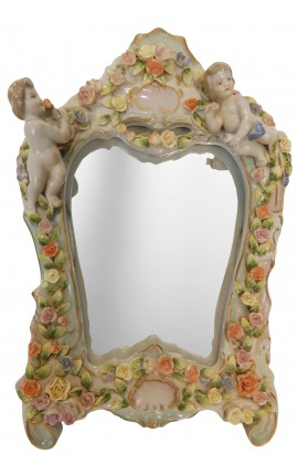 Miroir en porcelaine à poser avec angelots