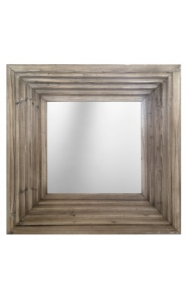 Square mirror in old weathered wood