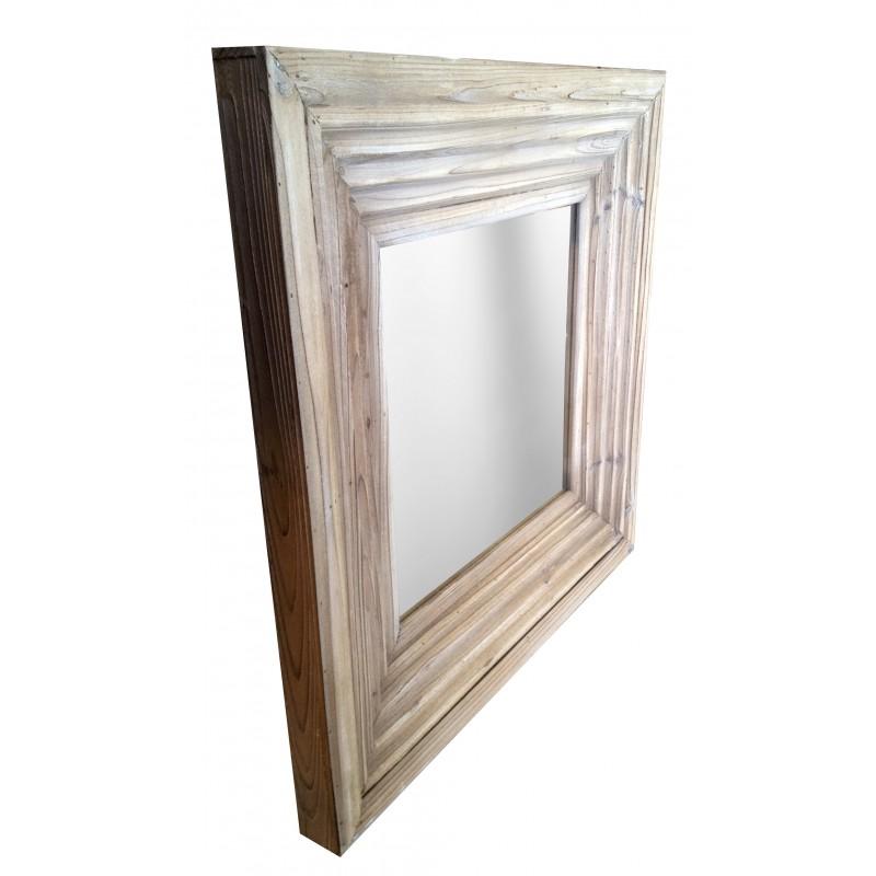 Miroir carré en bois ancien patiné -> Patine Sur Bois Ancien