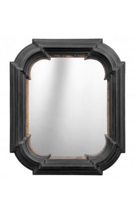 Miroir hexagonal rectangulaire noir avec dorure