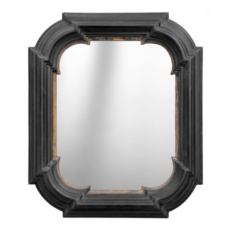 miroir hexagonal rectangulaire noir avec dorure. Black Bedroom Furniture Sets. Home Design Ideas