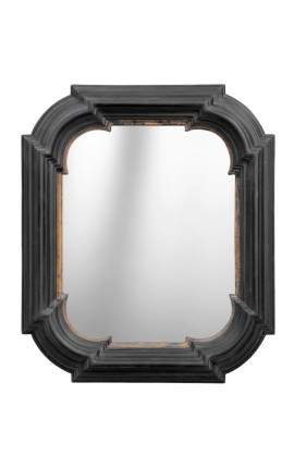 Mirror with rounded, rectangular black with gold