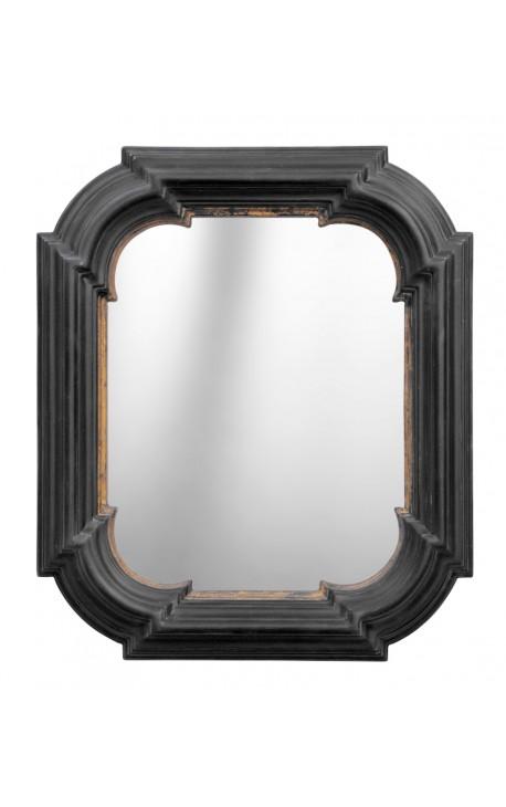 Miroir hexagonal rectangulaire noir avec dorure for Miroir noir rectangulaire