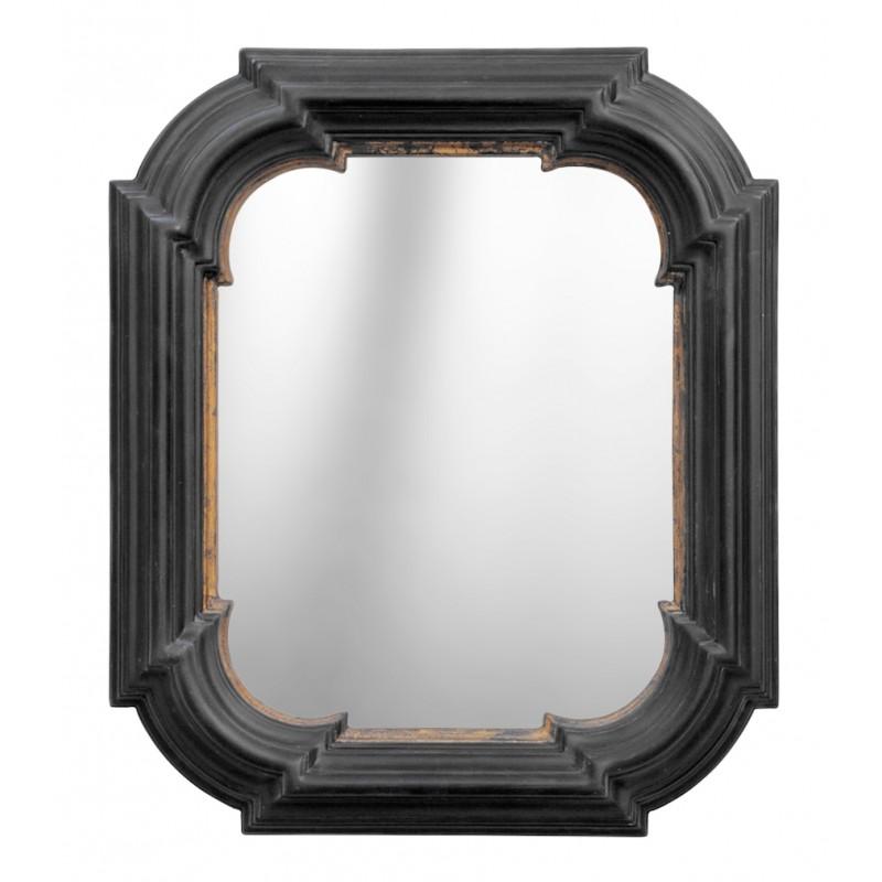 Miroir hexagonal rectangulaire noir avec dorure for Miroir rectangulaire noir