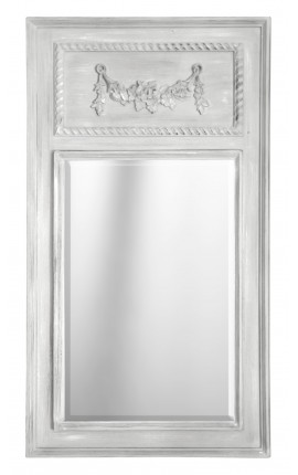 Pierglass Louis XVI style light grey wood antique white patina