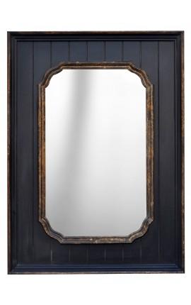 Miroir rectangulaire noir avec dorure