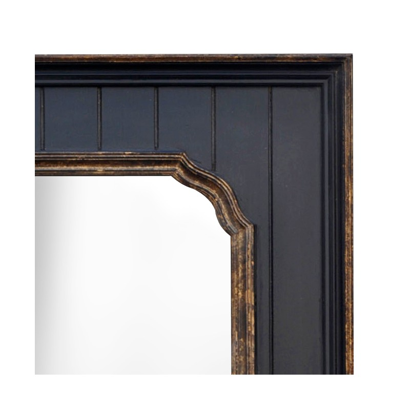 Miroir rectangulaire noir avec dorure for The miroir noir