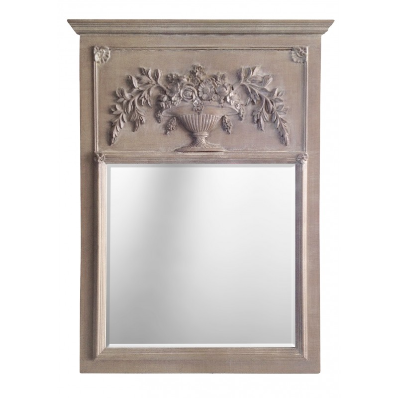 Trumeau louis xvi avec urne fleurie et bois gris fonc for Miroir trumeau bois