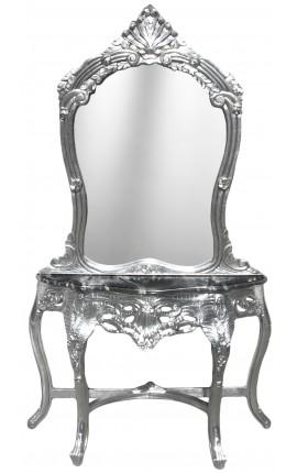 Console avec miroir de style baroque en bois argenté et marbre noir