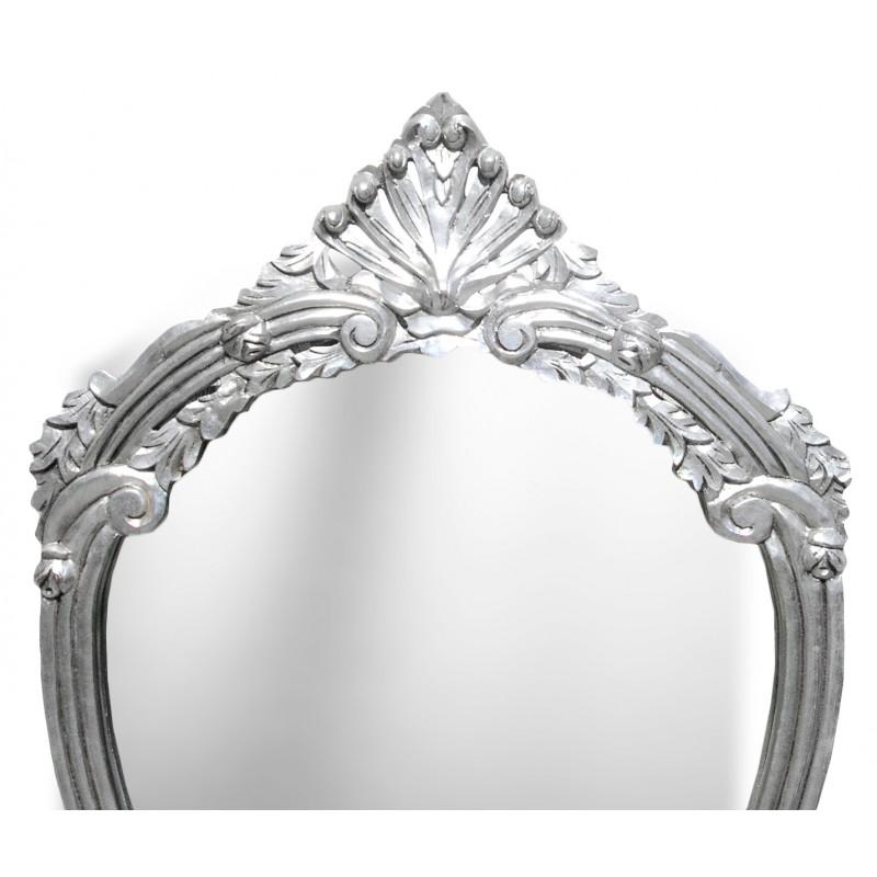 Console avec miroir de style baroque en bois argent et - Miroir baroque noir pas cher ...