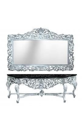 Enorme console avec miroir de style baroque en bois argenté et marbre noir