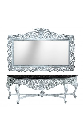 Console with mirror baroque style silvered wood and black marble