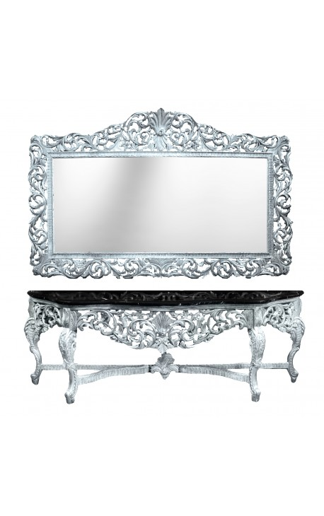 enorme console avec miroir style baroque en bois argent marbre noir. Black Bedroom Furniture Sets. Home Design Ideas