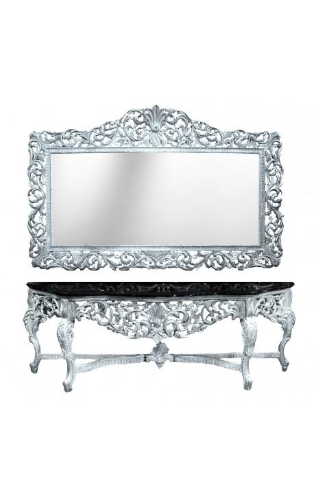 Консоль с зеркалом в стиле барокко посеребренного дерева и черного мрамора