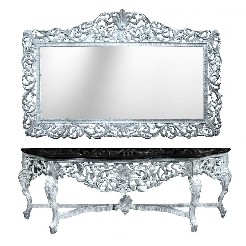 Enorme console avec miroir style baroque en bois argent for Miroir baroque rectangulaire