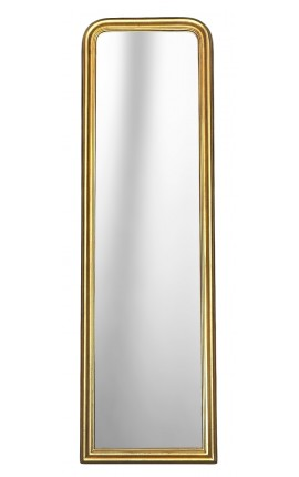 Mirror psyche golden Louis Philippe style and beveled mirror