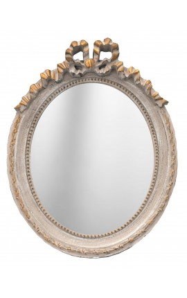 Vertical oval mirror Louis XVI patinated grey and gold