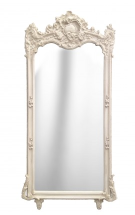 Grand miroir baroque rectangulaire beige patiné