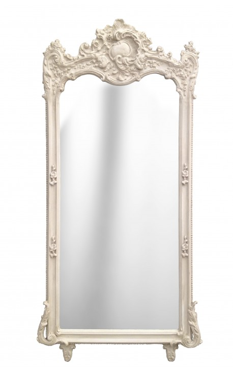 Grand miroir rectangulaire baroque beige patiné