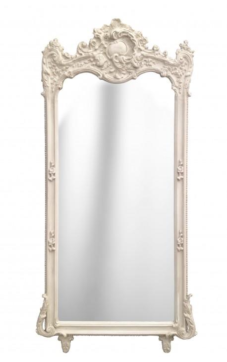Grand Miroir Rectangulaire Baroque Beige Patin
